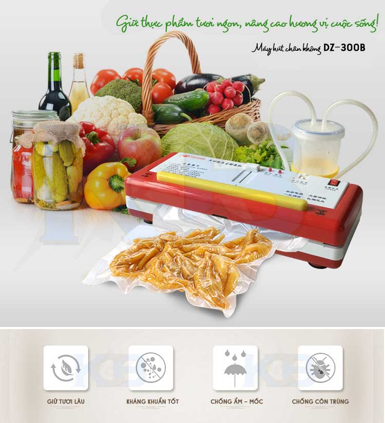 Máy hút chân không giúp bảo quản thực phẩm tươi ngon và giữ được lâu hơn